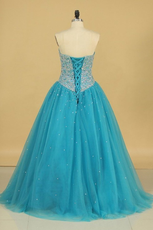 Ball Gown Sweetheart Beaded Bodice Quinceanera Dresses Tulle Floor PDAZTQRY