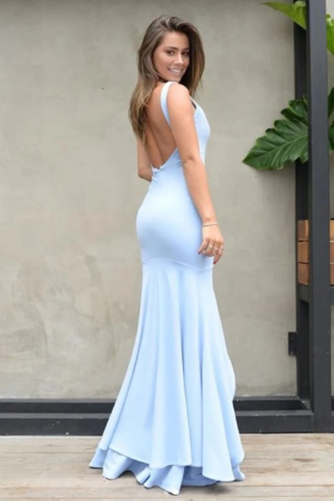 Mermaid Backless Prom Dresses Simple Bridesmaid Dress Satin Floor STGP481AX65