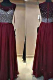 Long Custom Burgundy Beaded Charming Sparkly Floor-Length Prom Dresses