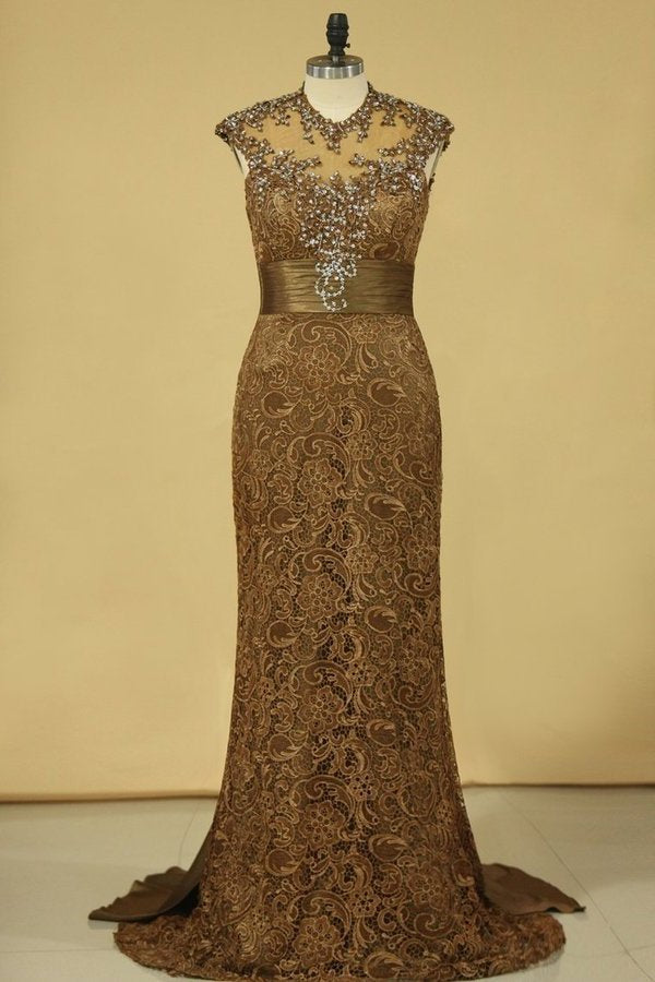2020 Brown High Neck Evening Dresses Column With Beading Lace Sweep PD5ZKF4F