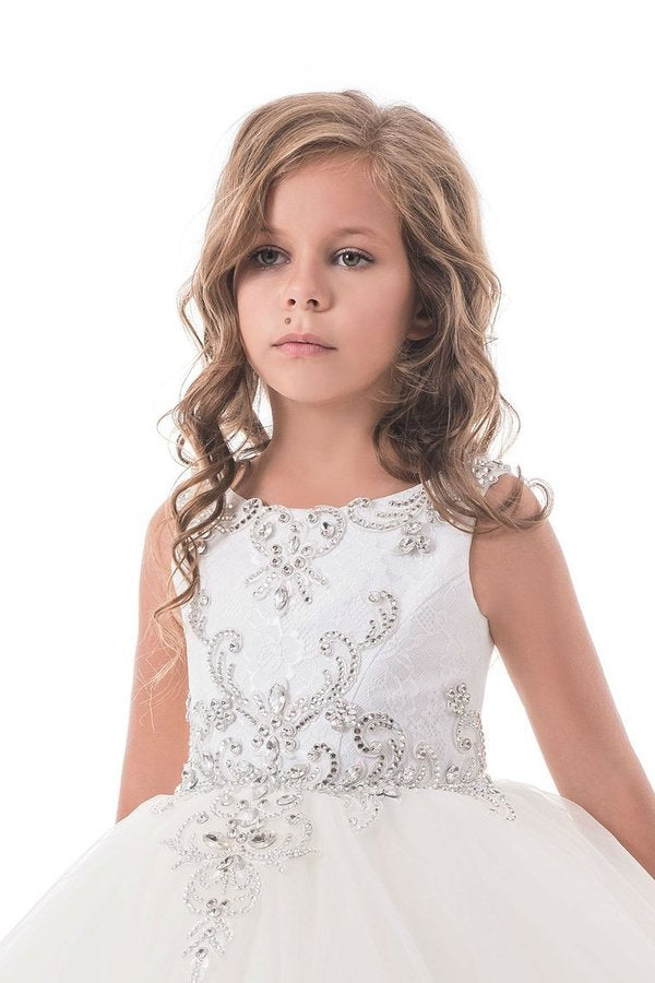 Flower Girl Dresses Ball Gown Scoop Open Back Tulle PRA8DHE2