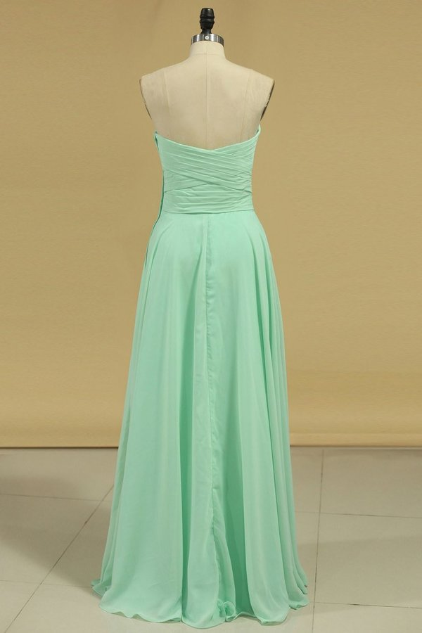 2020 Chiffon Bridesmaid Dresses Sweetheart Ruffled Bodice Floor Length A P96GTYS1