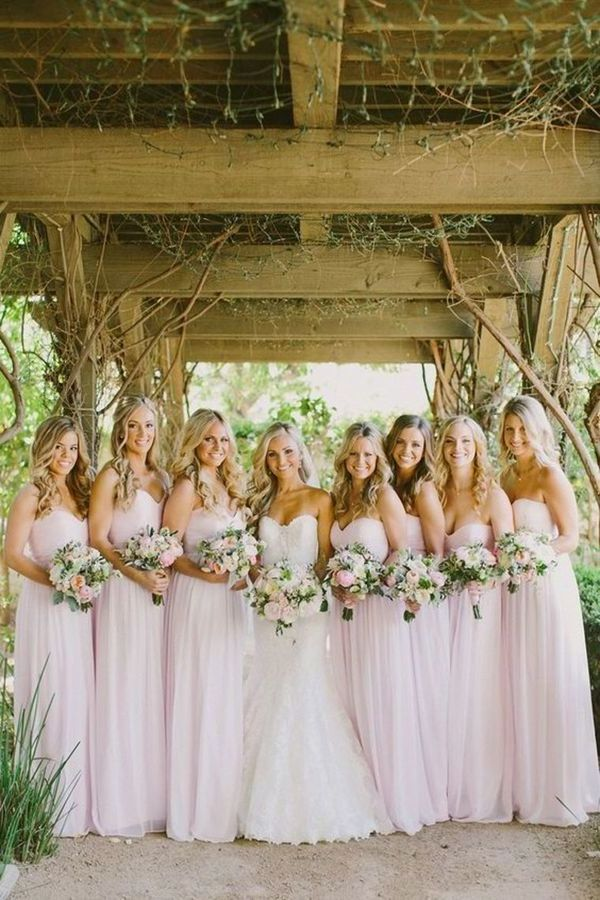 2020 Sweetheart Bridesmaid Dresses A Line Chiffon Floor PL7THJJH