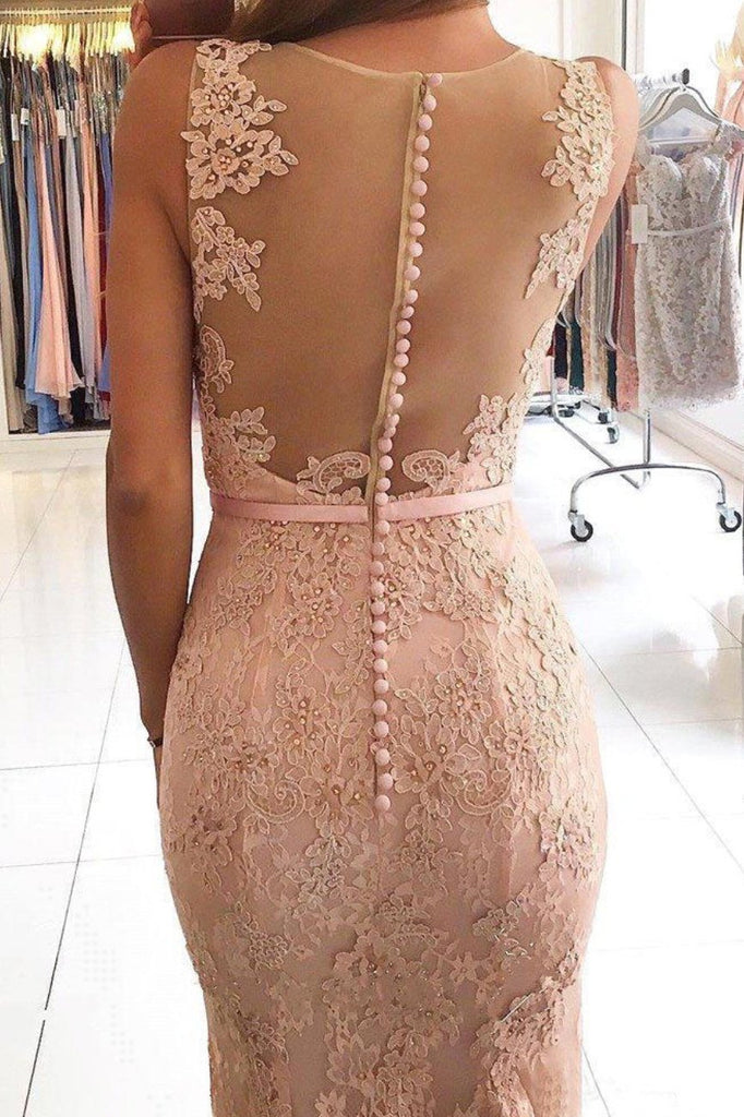 Sexy Mermaid Lace Appliques V Neck Beads Sleeveless Long Prom Dresses