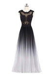 A Line Ombre Lace Appliques Prom Dresses Long Cheap Evening Dresses