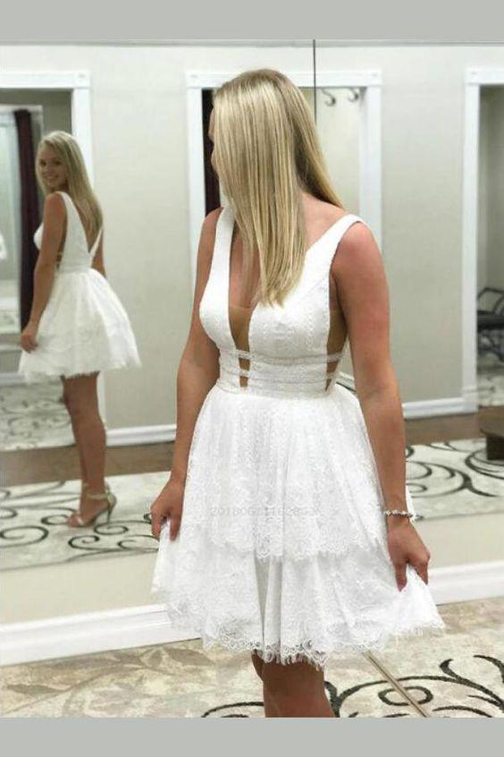 A Line V Neck Lace Short Mini Tiered Prom Dresses White Above Knee Homecoming Dress