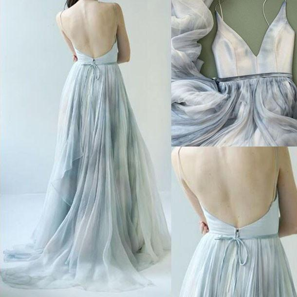 A line Tulle Ombre Deep V Neck Spaghetti Straps Blue Prom Dresses Evening Dresses