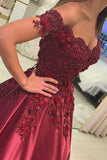 Ball Gown Red Lace Appliques Prom Dresses Off the Shoulder Quinceanera Dresses