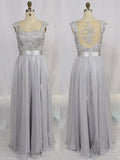 Hot V-Neck Chiffon Tulle Appliques Lace Cap Straps Sleeveless Beads Bridesmaid Dress