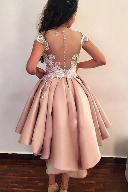 Chic Sheath Pink Above Knee Lace Appliques Cap Sleeve Homecoming Dresses