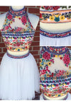 Cute High Neck Two Pieces White Embroidery Homecoming Dresses with Open Back