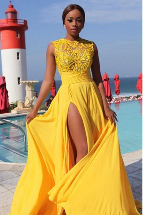 Sexy Elegant A line Yellow Chiffon Cap Sleeves Lace Evening Prom Dresses