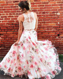 Two Piece High Neck Floral Long Lace A Line Sleeveless Graduation Prom Dresses