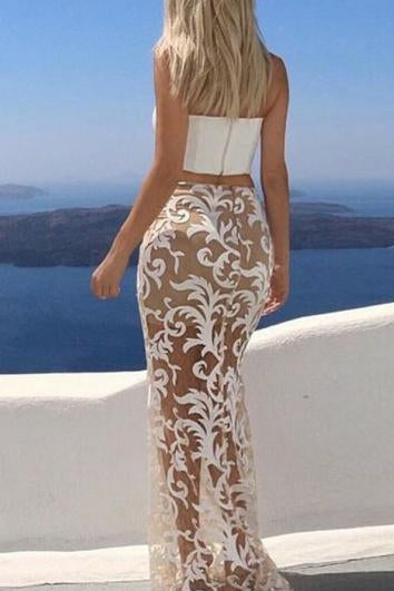 White Mermaid Two Pieces Lace Sleeveless Evening Dresses Long Prom Dresses