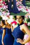 Stylish Halter Open Back Mermaid Navy Blue Bridesmaid Dress with Lace Beading