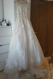 Sheer Castle Ivory Ball Illusion Back Appliques Lace Chapel Train Wedding Dress