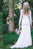 Lace Long Sleeve Beach Backless Outdoor Garden Handmade Women's Wedding Dress