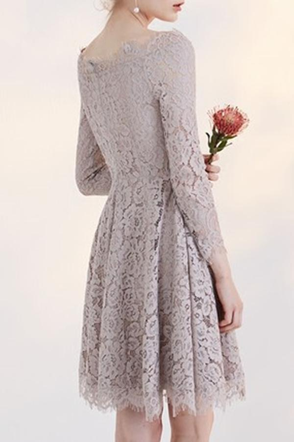 New Arrival Fashion Long Sleeves Temperament Homecoming Dress With Lace Appliques