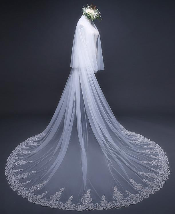 Cathedral Tulle Lace Ivory Wedding Veil Bridal Veil Wedding Veil