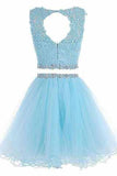 Two Piece Open Back Scoop Beads Sleeveless Grey Tulle A-Line Homecoming Dress