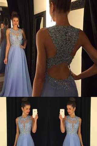 Lace Open Back Sexy Blue Chiffon Cheap A-Line Beads Sleeveless Scoop Prom Dresses