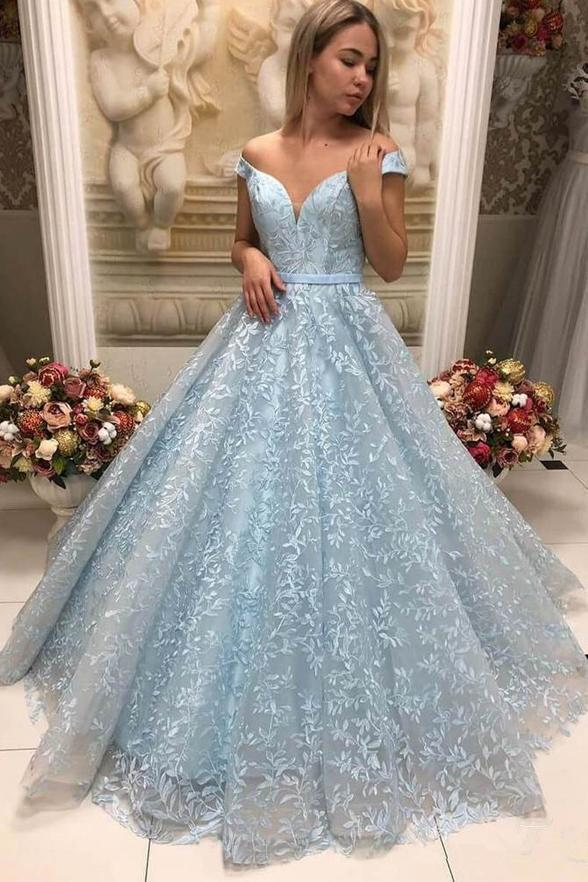 Light Blue Lace Ball Gown Off the Shoulder Prom Dresses with Appliques Sweetheart