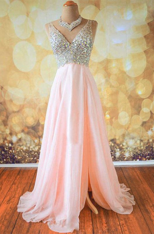 V-neck Beading Bodice Floor Length Split Prom Dresses Evening Dresses