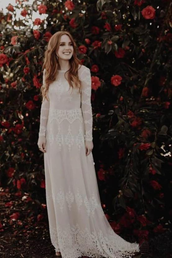 Long Sleeve Ivory Sheath Wedding Gowns Backless Lace Applique Country Wedding Dresses