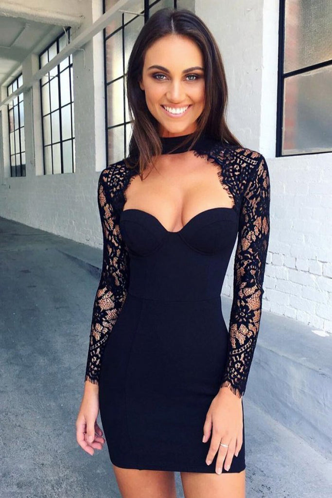 Mermaid Dark Navy Long Sleeve Sweetheart Short Prom Dresses Lace Cocktail Party Dresses