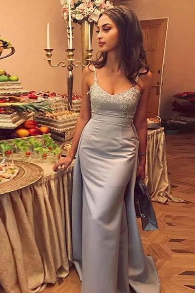 Mermaid Gray Spaghetti Straps Sweetheart Satin Detachable Prom Dresses with Appliques
