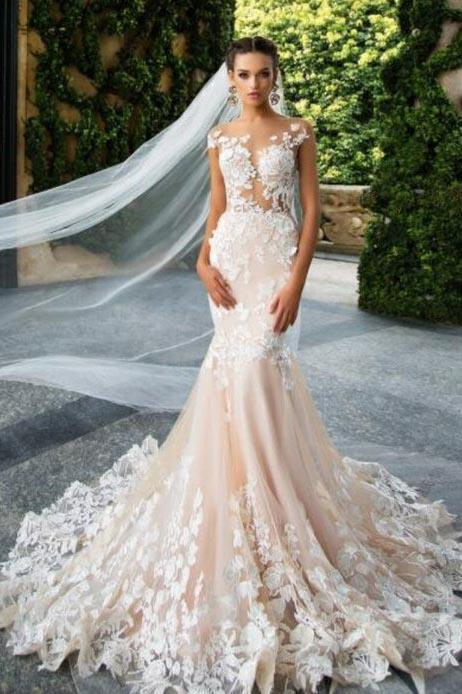 Mermaid Light Pink Backless Lace Appliques Wedding Dresses Short Sleeve Bridal Dress