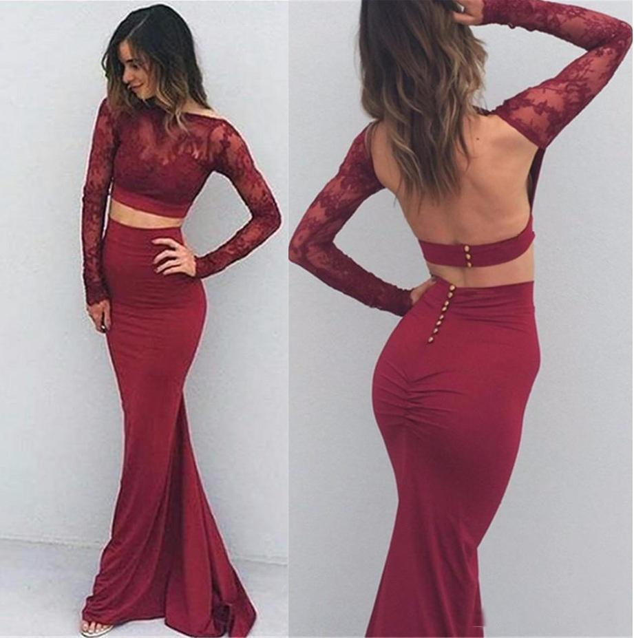 Mermaid Long Sleeve Two Pieces Prom Dresses Burgundy Backless Evening Dresses