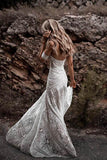 Unique Mermaid Off the Shoulder Straps Ivory Lace Beach Wedding Dress Bridal Dresses