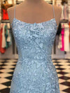 Mermaid Red Lace Spaghetti Straps Scoop Prom Dresses Long Cheap Evening Dresses