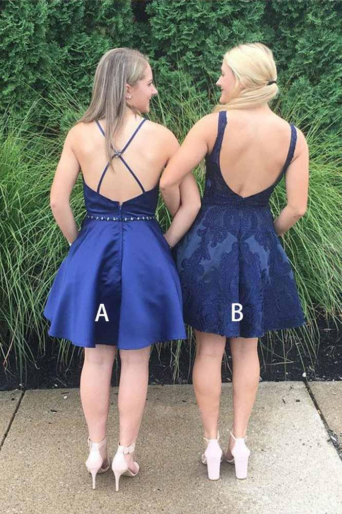 Navy Blue V Neck Homecoming Dresses Cute Short Bridesmaid Dresses with Pockets