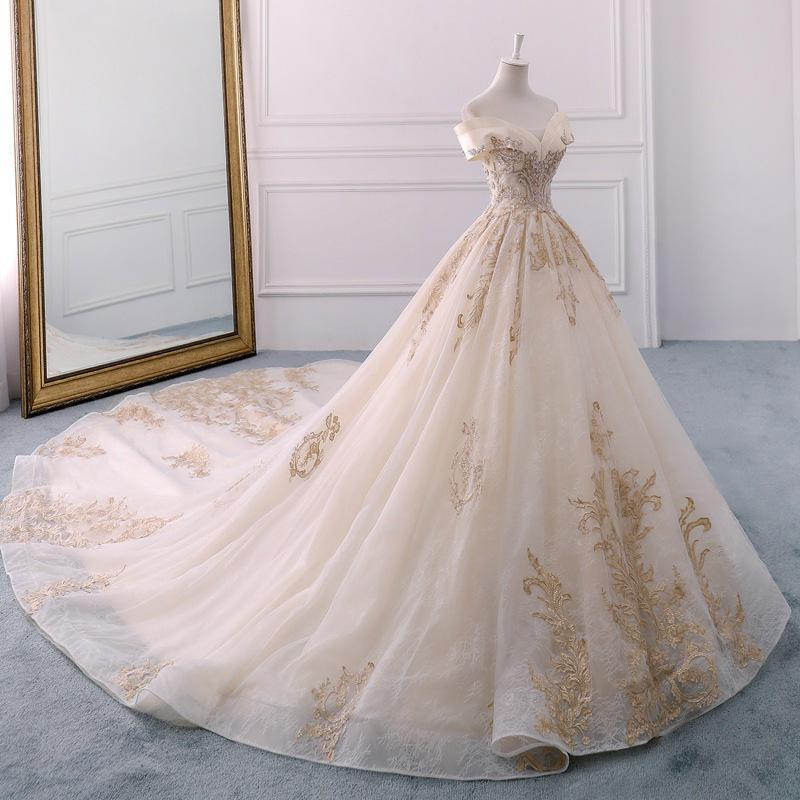Off the Shoulder Ball Gown Sweetheart Wedding Dress Long Appliques Bridal Dress