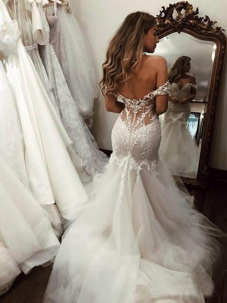 Off the Shoulder Mermaid Tulle Wedding Dresses Lace Appliques Bridal Gown