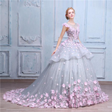 Pretty Flowers Quinceanera Dresses Ball Gown Long Backless Wedding Gowns