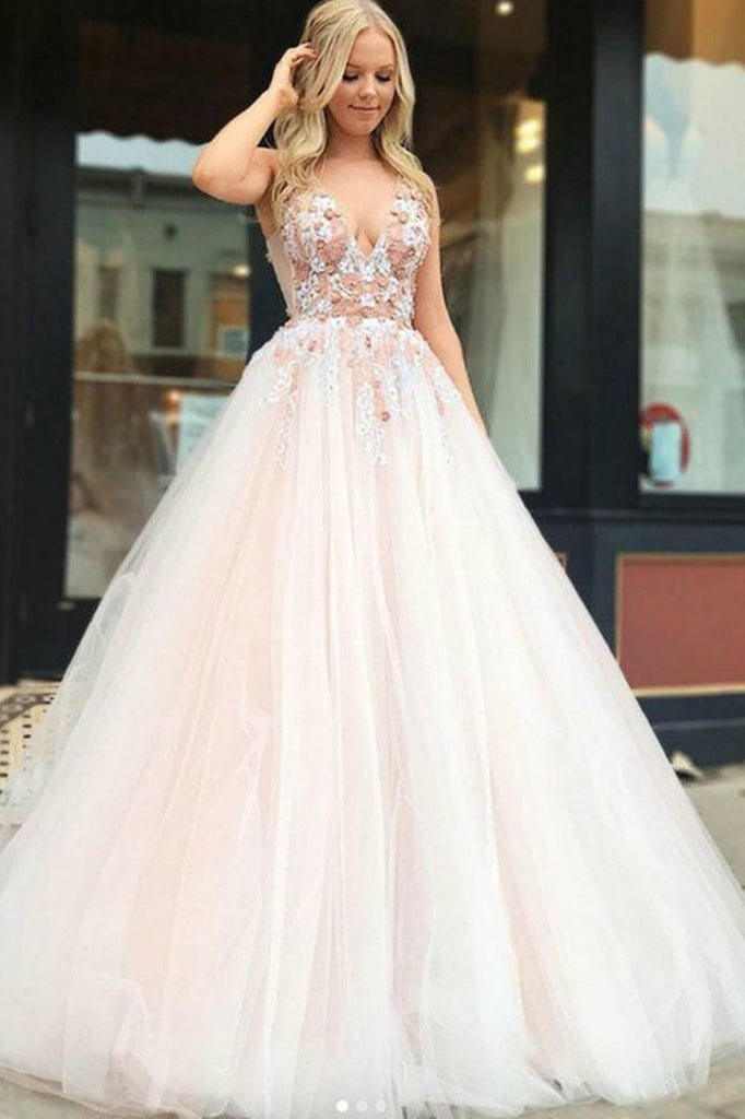 Pink Tulle V Neck Backless Appliques Long Prom Dresses Beads Cheap Party Dresses