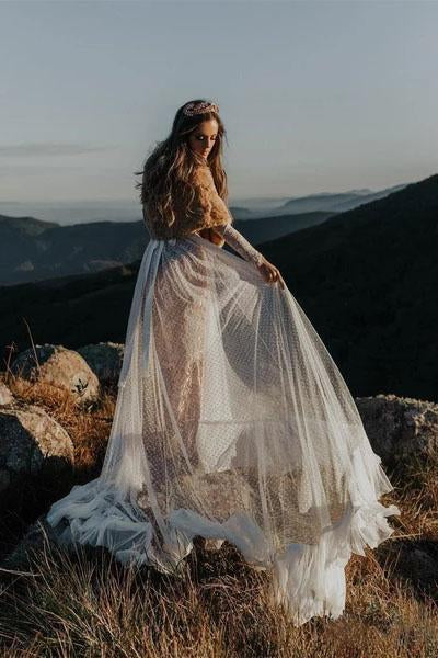 Polka Dot Long Sleeve Boho Wedding Dresses Lace Bohemian Backless Wedding Gowns