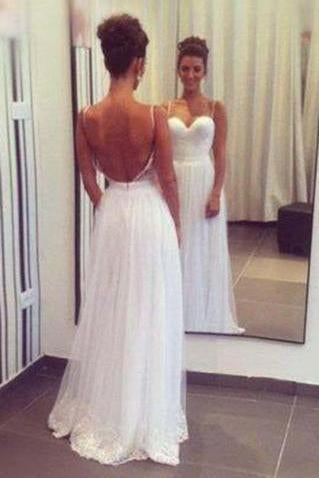 Spaghetti Straps Sweetheart Tulle Long Elegant Lace Cheap Backless Evening Wedding Dresses