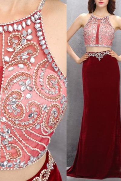 Sexy red chiffon two pieces see-through beading floor-length prom