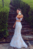 White lace two pieces mermaid beading long prom dress graduation