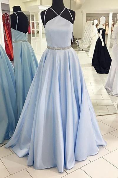 Light blue satins long A-line formal prom dresses with spaghetti