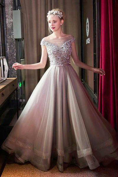 Stunning gray organza sequins beading see-through off-shoulder ball gown dress Prom