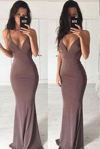Sexy mermaid backless long cheap simple off shoulder v-neck popular on sale summer dress