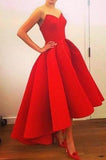 New Fashion High Low Red Vintage Strapless Sleeveless Formal Gowns online prom dresses