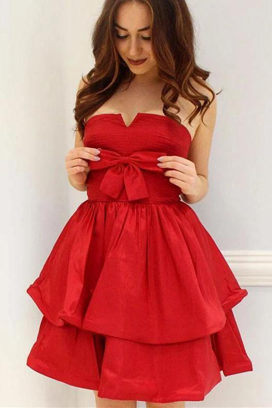 Red A-Line Strapless Bowknot Short Prom Dress Satin Party Dress Homecoming Dresses