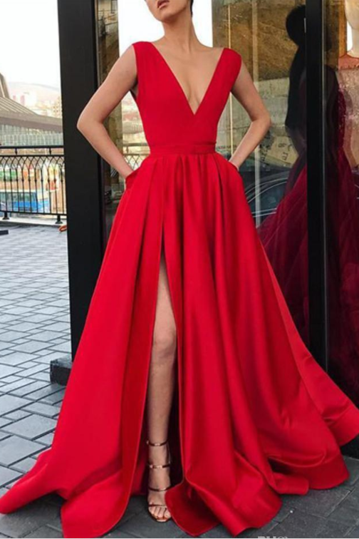 Red A Line Deep V Neck Split Prom Dresses with Pockets Strap High Slit Evening Dress