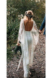 Rustic Batwing Sleeve Lace Ivory Wedding Dresses Ivory Sheath Boho Wedding Dresses